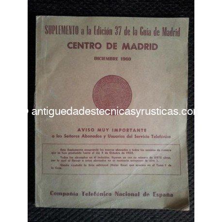 SUPLEMENTO GUIA TELEFONICA MADRID AÑO 1960