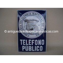CHAPA ESMALTADA CARTEL TELÉFONO PÚBLICO