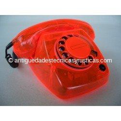 TELEFONO ROJO TRANSPARENTE HERALDO AÑOS 70