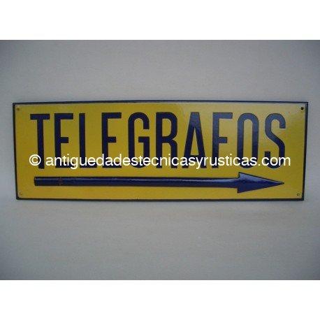 CHAPA ESMALTADA CARTEL TELEGRAFOS