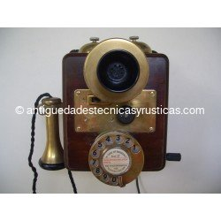 TELEFONO ANTIGUO INGLES DE PARED EN MADERA