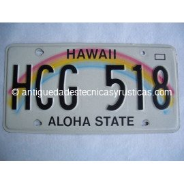 PLACA DE MATRICULA AMERICANA DE HAWAII - USA
