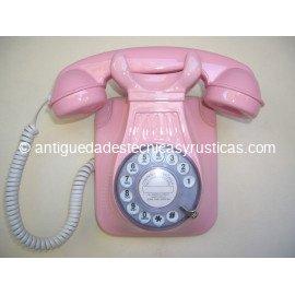 TELEFONO ROSA DE PARED TIPO ESPAÑOL ANTIGUO