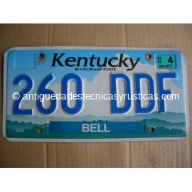 PLACA DE MATRICULA AMERICANA DE KENTUCKY - USA