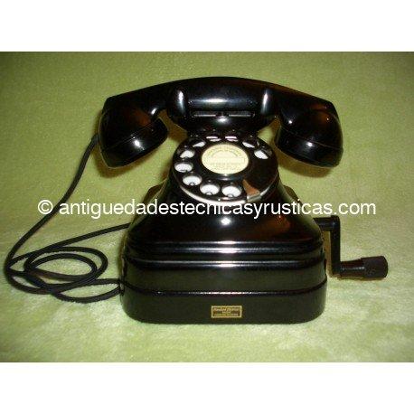 TELEFONO ANTIGUO ESPAÑOL MAGNETO SOBREMESA AÑOS 50